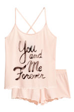 Pyjamas with shorts and top - Powder pink - Ladies | H&M CN 2