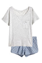Pyjamas with a top and shorts - Light grey marl - Ladies | H&M 2