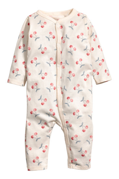 Printed all-in-one pyjamas - Natural white/Cherry -  | H&M CN 1