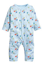 Printed all-in-one pyjamas - Light blue/Balloons - Kids | H&M 1