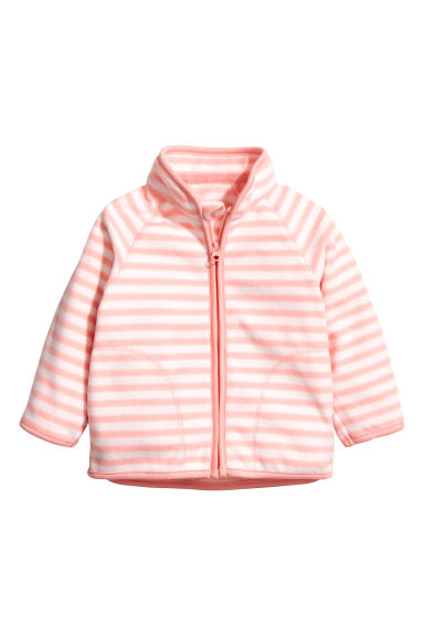 Fleece jacket - Powder pink/Striped - Kids | H&M