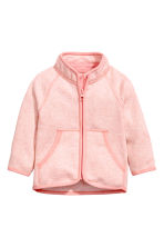 Knitted fleece jacket - Powder pink marl -  | H&M CN 1