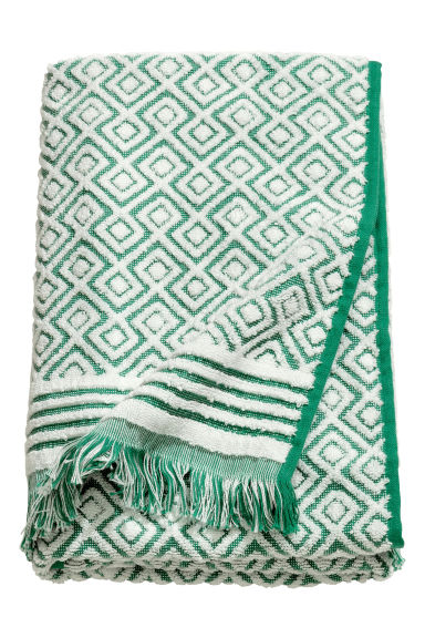 Jacquard-weave towel - Green/Patterned - Home All | H&M CN 1