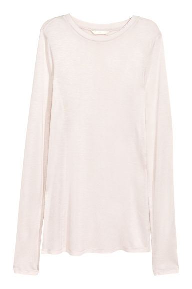 Long-sleeved jersey top - Light powder - Ladies | H&M CN 1