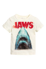 Printed T-shirt - Natural white/Jaws -  | H&M 2