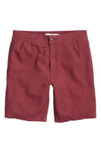 Linen-blend knee-length shorts - Dark red - Men | H&M IE 2