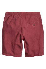 Linen-blend knee-length shorts - Dark red - Men | H&M IE 3