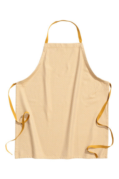 Jacquard-weave apron - Mustard yellow/Patterned - Home All | H&M CN 1