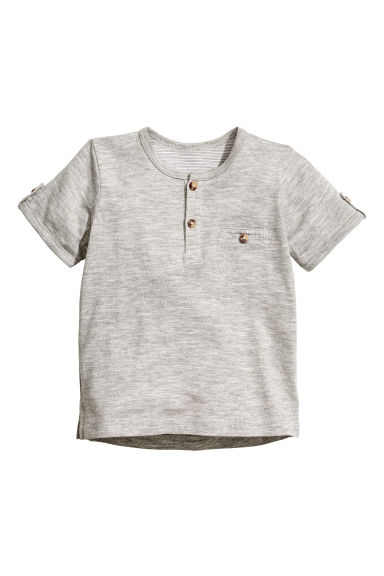 Short-sleeved Henley shirt - Grey marl -  | H&M 1