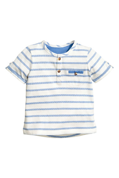 Short-sleeved Henley shirt - Blue/White/Striped -  | H&M 1