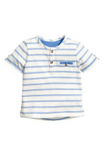 Short-sleeved Henley shirt - Blue/White/Striped -  | H&M CN 1