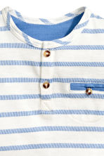 Short-sleeved Henley shirt - Blue/White/Striped -  | H&M CN 2