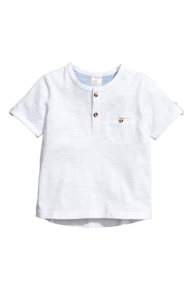 Short-sleeved Henley shirt - White -  | H&M