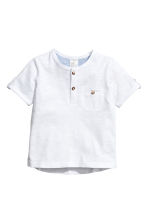Short-sleeved Henley shirt - White -  | H&M 1