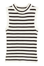 Fine-knit sleeveless top - White/Black striped - Kids | H&M CN 1