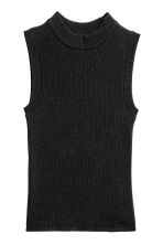 Fine-knit sleeveless top - Black -  | H&M 2