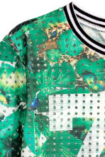 Printed mesh top - Green/Patterned -  | H&M CN 3