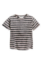 Washed-look T-shirt - Nearly black/Striped -  | H&M 2