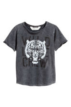 T-shirt effetto lavato - Nero washed out/tigre -  | H&M IT 2