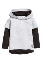 Hooded top with jersey sleeves - Light grey marl - Kids | H&M 2