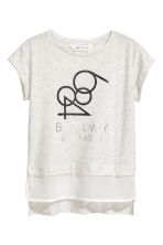 Short-sleeved top - Light beige marl - Kids | H&M 2