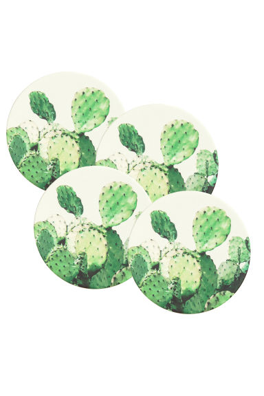 4-pack coasters - White/Cactus - Home All | H&M CN 1