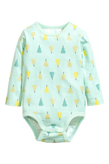 Long-sleeved bodysuit - Light turquoise/Pear -  | H&M 1