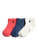 3-pack shaftless socks - Dark blue - Kids | H&M CN 1