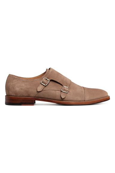 Suede monkstrap shoes - Dark beige - Men | H&M CN 1