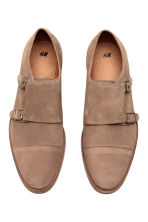 Suede monkstrap shoes - Dark beige - Men | H&M CN 2