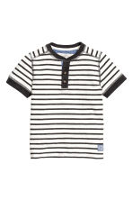 Henley shirt - Black/White/Striped -  | H&M CA 2