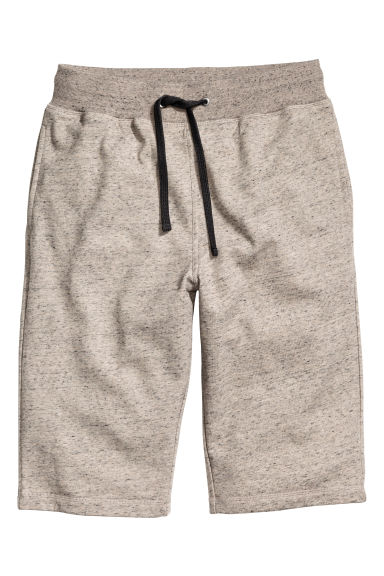 Knee-length sweatshirt shorts - Beige marl - Men | H&M