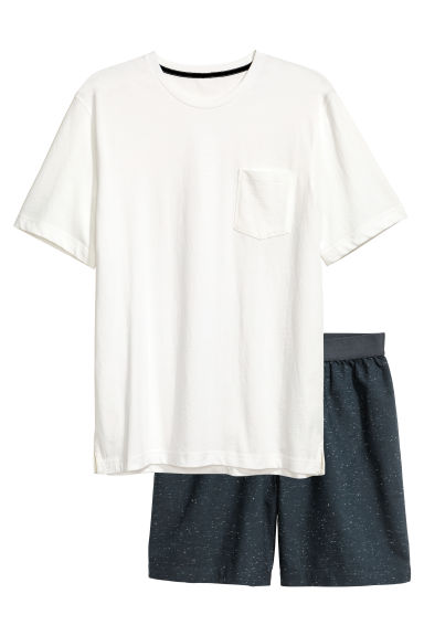 Pyjama T-shirt and shorts - White/Dark blue - Men | H&M 1
