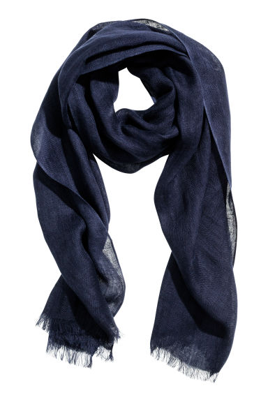 Linen scarf - Dark blue - Men | H&M