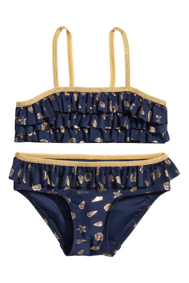 Frilled bikini - Dark blue/Patterned - Kids | H&M CA 1