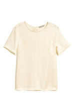 Short-sleeved silk blouse - Natural white - Ladies | H&M CA 2