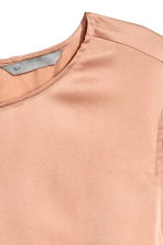 Short-sleeved silk blouse - Powder beige - Ladies | H&M CN 3