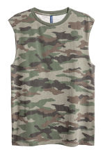 Printed vest top - Khaki green/Patterned - Men | H&M CA 2