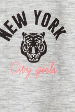 Short-sleeved jersey top - Grey marl/New York -  | H&M CN 4