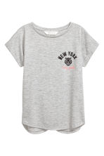Short-sleeved jersey top - Grey marl/New York -  | H&M CN 2