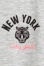 Short-sleeved jersey top - Grey marl/New York -  | H&M CN 3