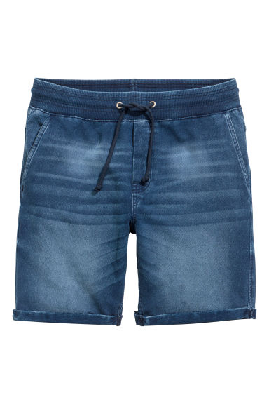 Denim-look sweatshirt shorts - Dark blue washed out - Men | H&M 1