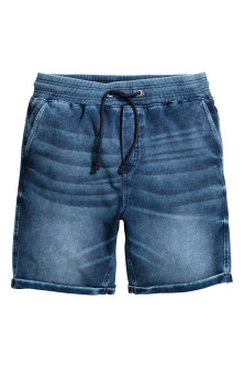 Denim-look sweatshirt shorts