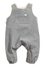 Cotton romper suit - Dark blue/Striped - Kids | H&M GB 1