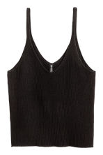 Ribbed strappy top - Black - Ladies | H&M CN 2