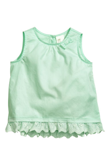 Cotton blouse - Mint green - Kids | H&M 1