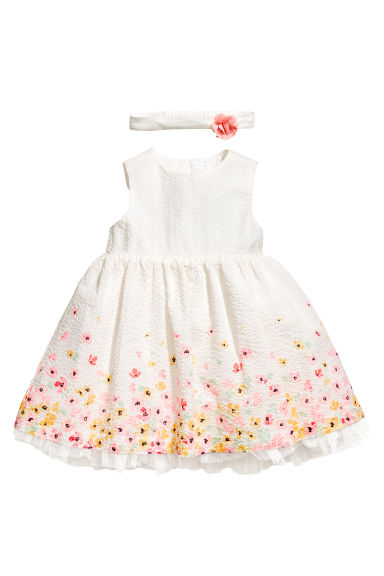 Dress and hairband - White/Floral - Kids | H&M