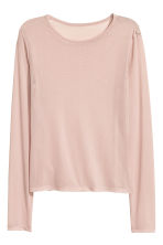 Long-sleeved mesh top - Light old rose - Ladies | H&M 2