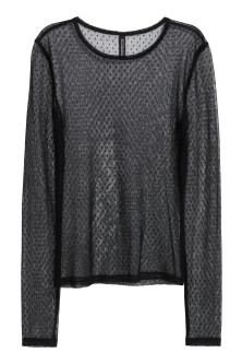 Long-sleeved mesh top