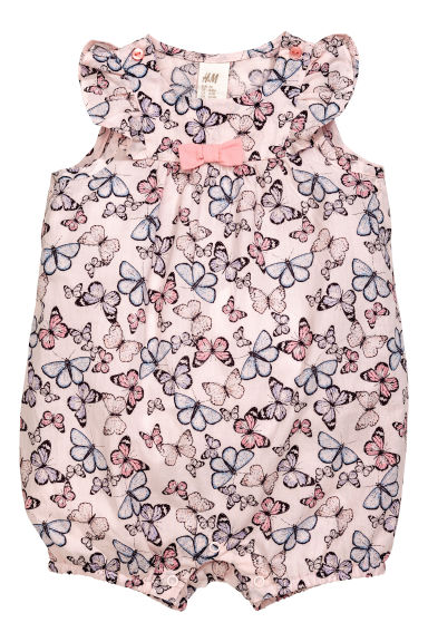 Patterned romper suit - Light pink/Butterflies - Kids | H&M 1